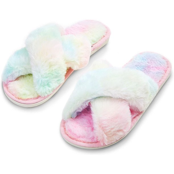Fuzzy Cross Band Home Slippers, Soft Fluffy Plush Fleece Slip on House Slipper, Open Toe Indoor Shoes for Women, Cute Pastel Pink (Large, US 9)