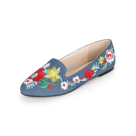 Women's Rounded Toe Printed Loafer Flat