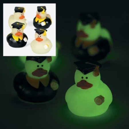 Fun Express Mini Glow-in-the-Dark Graduation Rubber Ducky Party Favors - 24 Pieces - Graduation Party Items