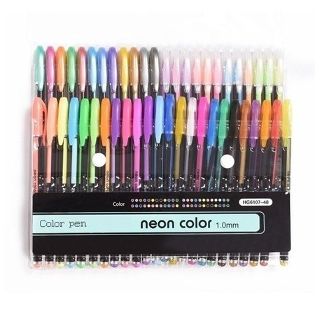 New 48Pcs Gel Pen Set Metallic Pastel Glitter Neon Gel Pens for Adult Colouring Book Neon Gel Pen