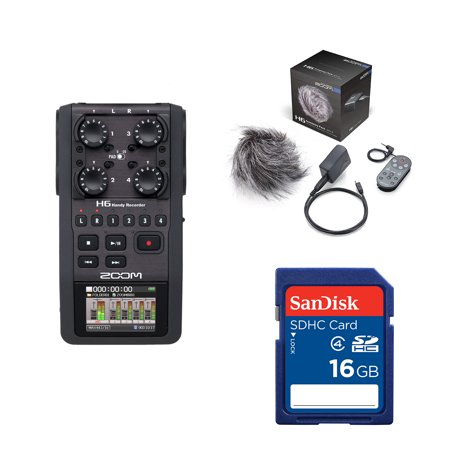 Zoom H6 6-Track Digital Audio Recorder + APH6 Accessory Package + Memory