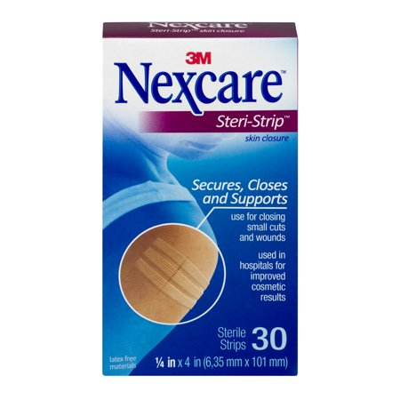 Nexcare Steri-Strip Skin Closure, 1/4 in x 4 in, White, 30 ct.