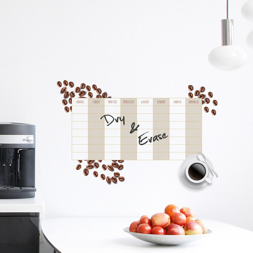 WallPops! Home Decor Line Coffee Weekly Calendar Wall Decal