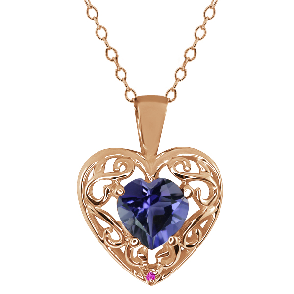 0.59 Ct Heart Shape Blue Iolite Pink Sapphire Gold Plated Silver Pendant
