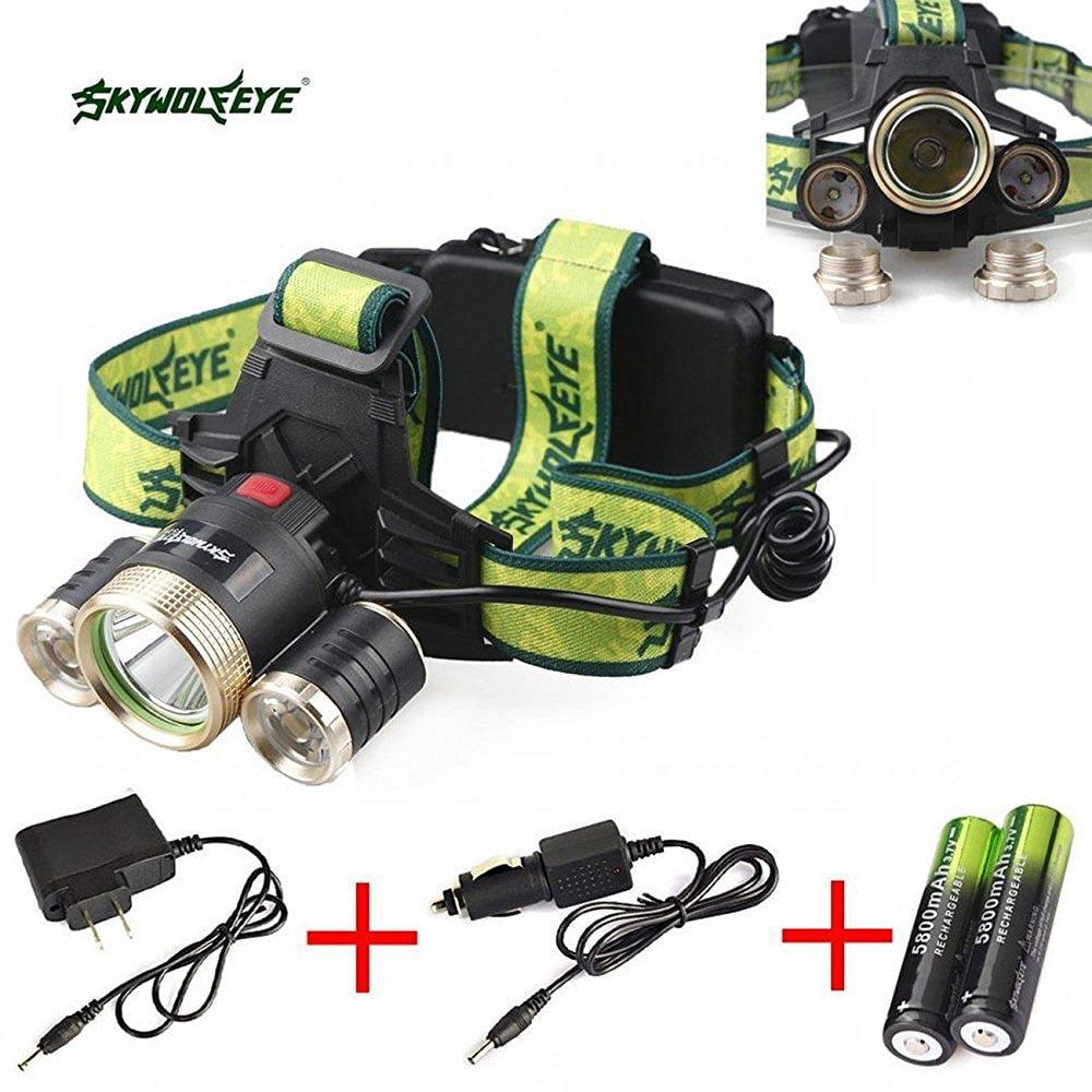 Skywolfeye Cree 30000 Lumens Headlamp Xm L 3 X T6 Led Headlight With
