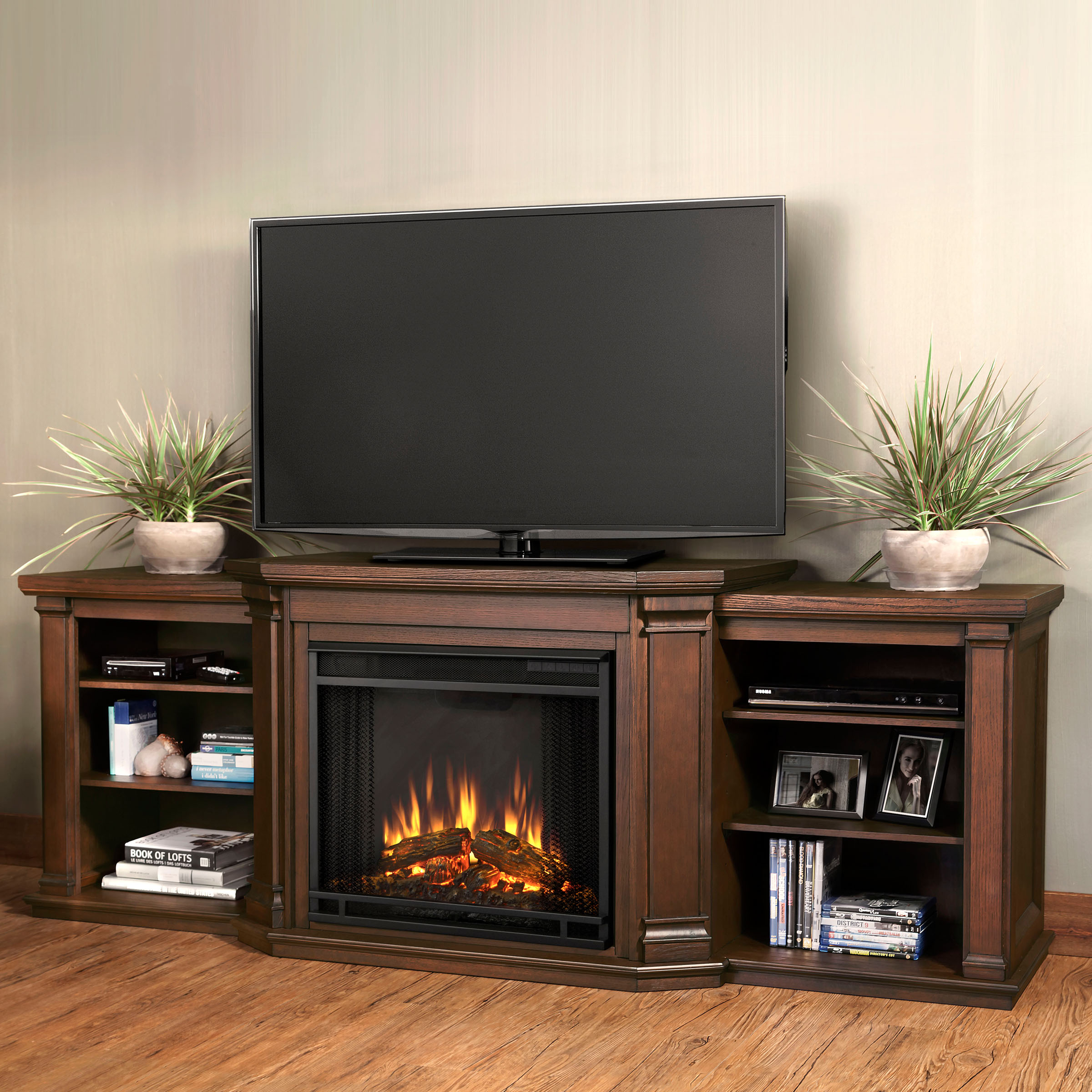 Valmont Entertainment Center Electric Fireplace in Chestnut Oak by Real Flame