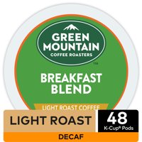 Green Mountain Coffee Roasters Breakfast Blend Decaf, Keurig K-Cup Pods, Light Roast Coffee, 48 Count