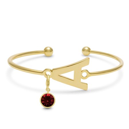 Initial Bangle Bracelet With Garnet Crystal Birthstone, For January Babies