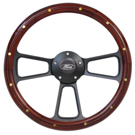 Ford Ranchero Steering Wheel Real Wood & Brass Rivets w/Billet Ford Horn Button