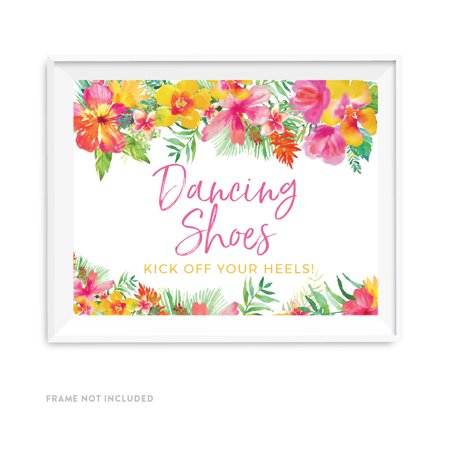 Tropical Floral Garden Party Wedding Party Signs, Dancing Shoes - Kick Off Your Heels!, 8.5x11-inch for $<!---->