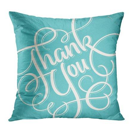 ECCOT Letter Thank You Hand Lettering Script Swirl Handwritten Tag Handlettering PillowCase Pillow Cover 18x18 (Swirl Letter)