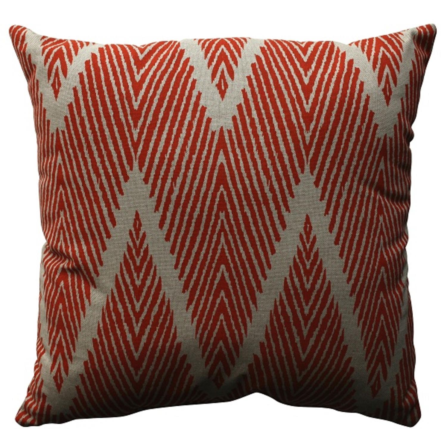 "18"" Orange Zig Zag Zebra Print Decorative Throw Pillow"