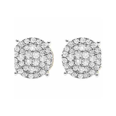Pave Round Earrings (10K Yellow Gold Round Pave Diamond Studs Earrings 0.77ct)