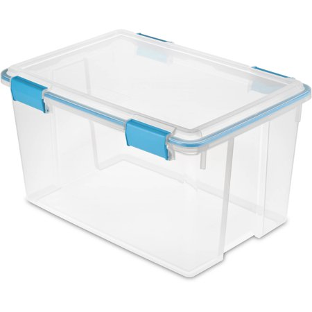 Sterilite 54 Qt. Gasket Box Blue Aquarium Case of 4