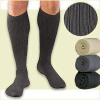 Activa Men's Microfiber Pinstripe Dress Socks 20-30 mmHg X-Large Tan - H3404