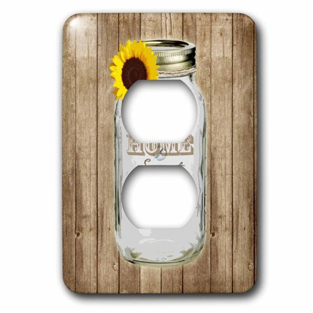 3dRose Country Rustic Mason Jar with Sunflower - Home Sweet Home - 2 Plug Outlet Cover (Mason Outlet Mall)