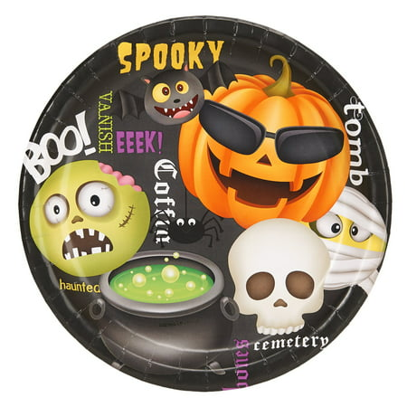 Halloween Emoji 9Inches Dinner Plates (8 Count)