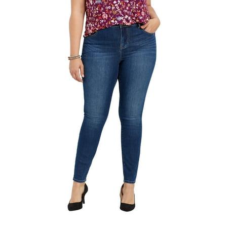 0229e059572 maurices - maurices High Rise Skinny Jean - Plus Size Everflex Women s  Stretch Medium Wash 14 st - Walmart.com