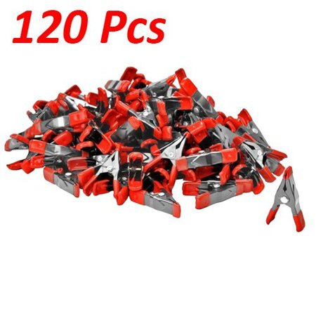"""Wideskall® 2"""" inch Mini Metal Spring Clamps w/ Red Rubber Tips Clips (Pack of 120)"""