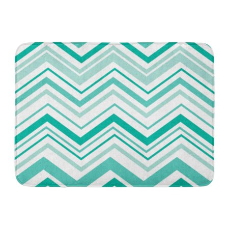 GODPOK White Cheerful Blue Abstract Chevron Pattern Design with Teal Color Green Celebration Happiness Rug Doormat Bath Mat 23.6x15.7 (Big Green Egg Draft Door)