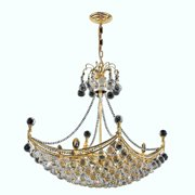 "Worldwide Lighting W83025G28 8-Light 1 Tier 28"" Gold Chandelier with Clear Crystals"
