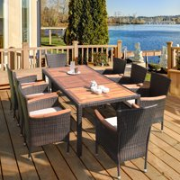 9PCS Patio Rattan Dining Set 8 Chairs Cushioned Acacia Table Top