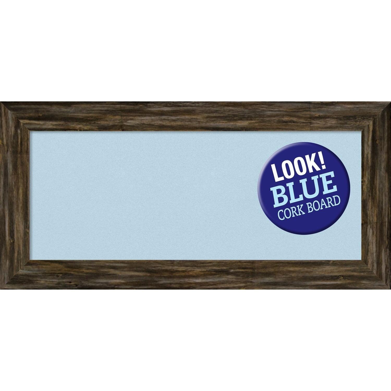 Amanti Art Framed Blue Cork Board, Fencepost Brown Narrow