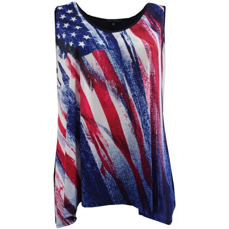 BNY Corner Women Plus Size Sleeveless Special Star Print Summer Tank Top Blue Red 1X (Corner Section Top)