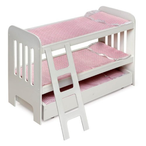 """Badger Basket Doll Bunk Bed with Ladder and Trundle, Fits Most 18"""" Dolls & My Life As"""