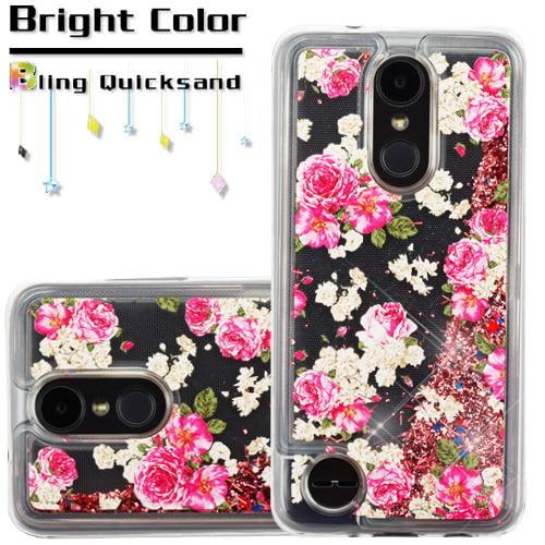 For LG Aristo 2 / LG Zone 4 (2018) / LG Tribute Dynasty / LG K8 (2018) / LG Fortune 2 Case Hybrid Quicksand Liquid Glitter TPU Phone Cover (European Rose & Rose Gold Quicksand Glitter)
