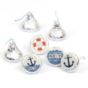 Ahoy - Nautical - Party Round Candy Sticker Favors - Labels Fit Hershey's Kisses (1 sheet of 108)