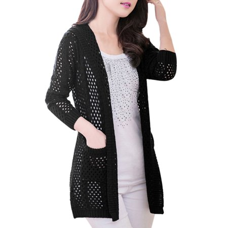 Allegra K Women's Two Pockets Front Buttonless Fashion Leisure Cardigan Black (Size S / 4)