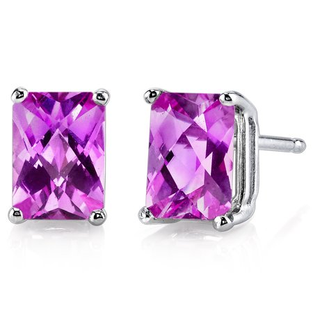 Peora 2.50 Ct T.G.W. Radiant-Cut Created Pink Sapphire 14K White Gold Stud Earrings ()