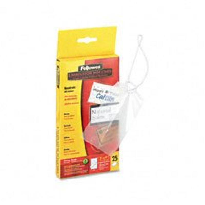 Fellowes Luggage Tag Laminating Pouches, 3mm, 4w x 2d, 25/pack