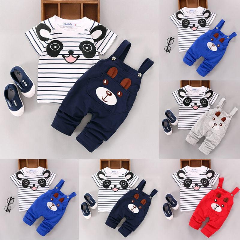 2pcs Cartoon Toddler Baby Infant Boys Outfits T-shirt+Bib Pants Kids Clothes Set