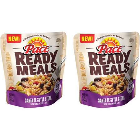 (2 Pack) Pace Ready Meals Santa Fe Style Steak with Black Beans & Rice, 9