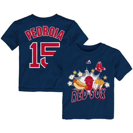 Dustin Pedroia Boston Red Sox Majestic Toddler Snack Attack Name & Number T-Shirt - Navy