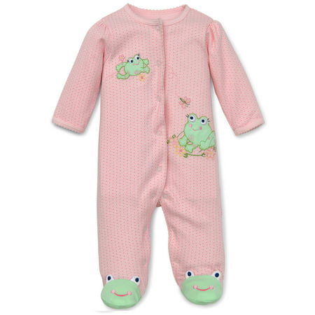 Frog Friends Snap Front Footie Pajamas For Baby Girls with Frog Feet Sleep N Play One Piece Romper Coverall Cotton Infant Footed Sleeper; Pijamas Para Bebes- Pink Print - 3 - Disfraz Para Halloween De Bebe