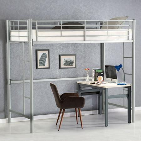 Gymax Twin Loft Bed Metal Bunk Ladder Beds Boys Girls Teens Kids Bedroom Dorm (Boy Girl Twin Halloween Ideas)