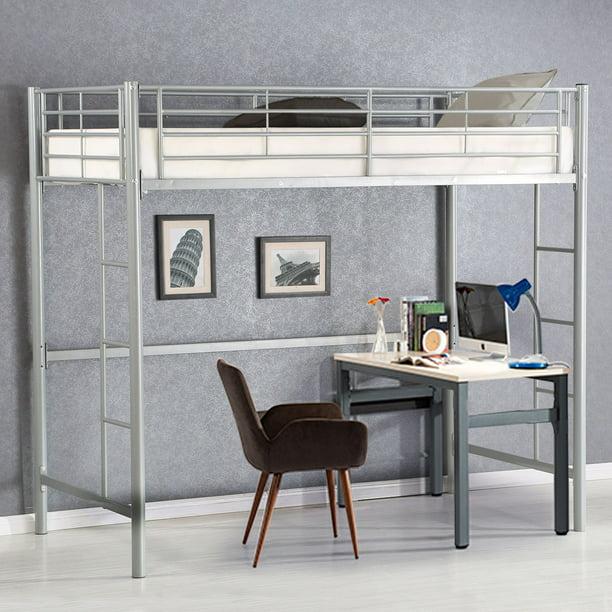 Gymax Twin Loft Bed Metal Bunk Ladder Beds Boys Girls Teens Kids Bedroom Dorm