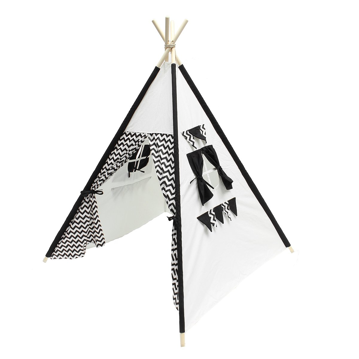 Premium, Deluxe Kids Teepee Tent Waves Canvas Kid Teepee Children Home Game Toy Play Tent Cubby for Toddler Children to Read and Play at Hide and Seek,Black/White