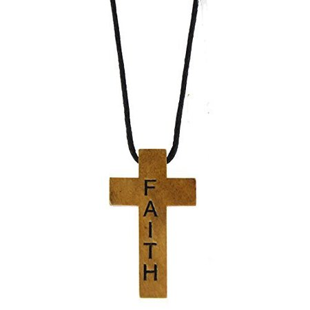 Wood Cross Necklace Engraved Faith (24 Necklaces) (Wood Cross Necklace)