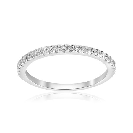 Platinum Pave Set Diamond Band - Stackable Band 1/5ct Diamond Wedding Band 10K White Gold Womes Anniversary Pave