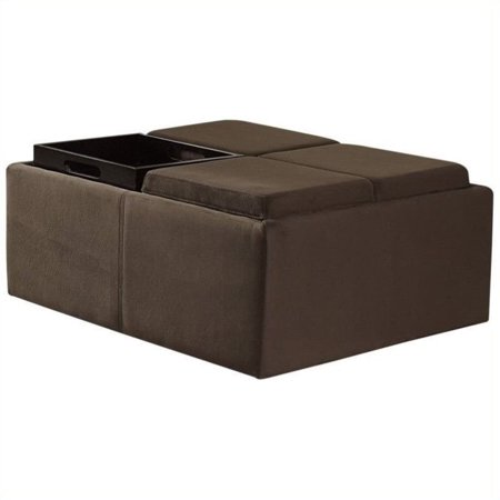 Trent Home Cocktail Ottoman With 4 Tray Inserts In Mocha