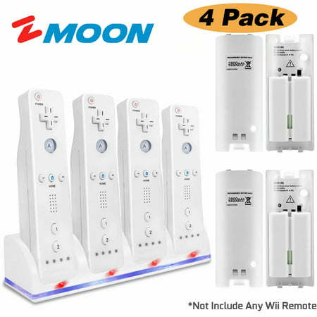 Image of 4 Wii Controller Batteries with Charger Dock for Wii Controller, Zmoon Remote Control Charger Docking Station with 4 Rechargeable Batteries Compatible Nintendo Wii Remote Control
