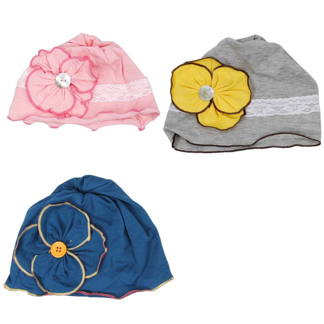 Bundle Monster 3 pc Baby Girl Infant Soft Cotton Knit Pattern Flower Hat Beanies