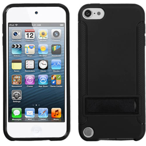 Apple iPod touch 5 MyBat Gummy Skin Cover with Stand, Solid Black/Solid Black