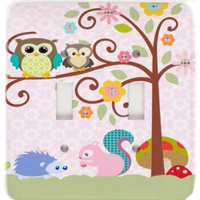 Owl Squirrel Treetop Friends Fancy Scrolled Tree Double T...