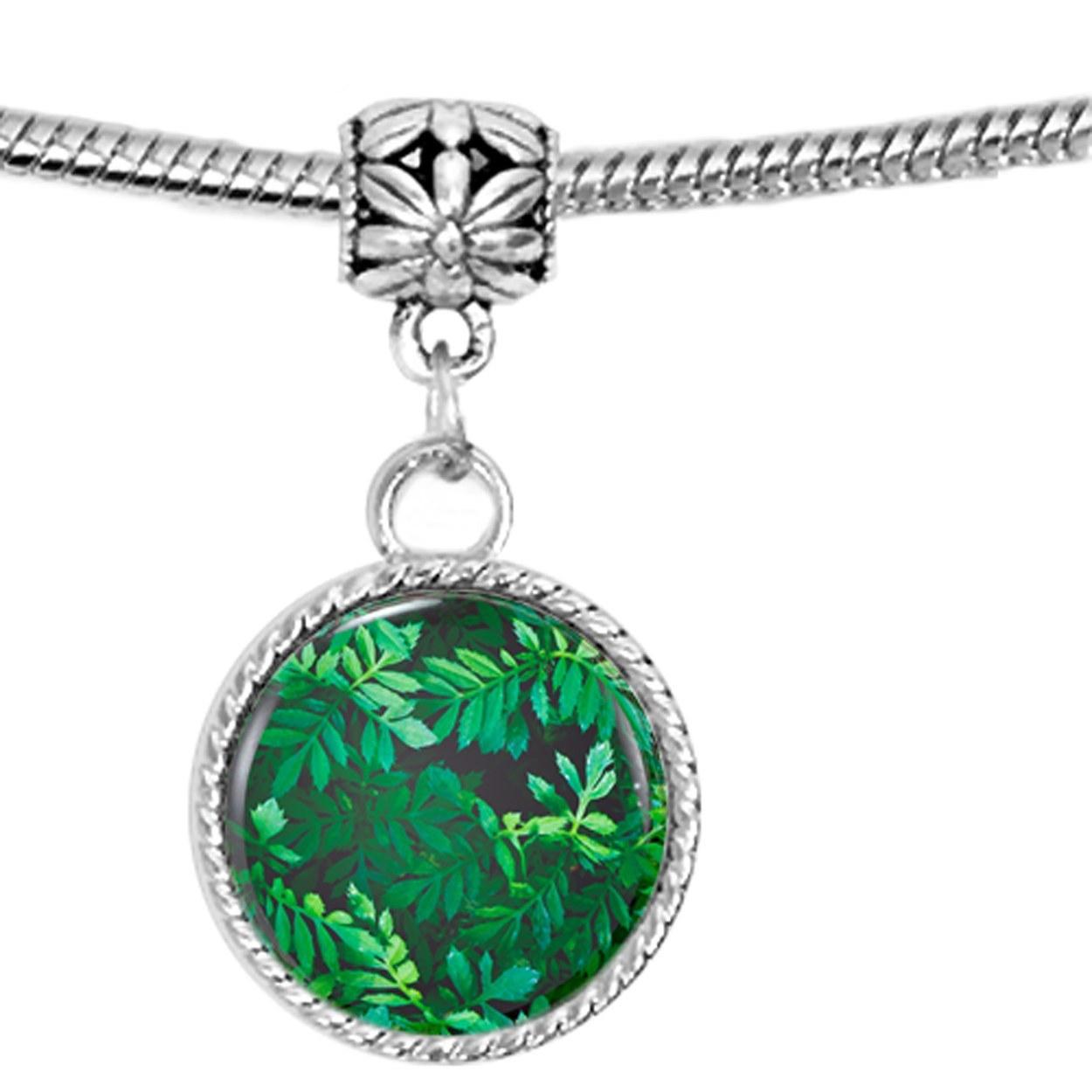 Photograph Closeup of Green Leaves Charm Bracelet