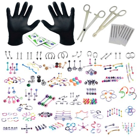 BodyJ4You 156PC Body Piercing Kit Lot 14G 16G Belly Ring Labret Tongue Tragus RANDOM Mix (Best Friend Tongue Rings)